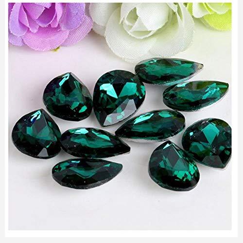 Gota de cristal grande de 10 x 14 mm, piedras de cristal para coser en la ropa de boda, decoración de uñas, 25 unidades, color verde pavo real