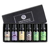 Lagunamoon Lot Huiles Essentielles, 6 huiles d'aromathérapie Naturelle-Lavande, Arbre à thé, Menthe poivrée, Romarin, Citron, Encens, 10ML