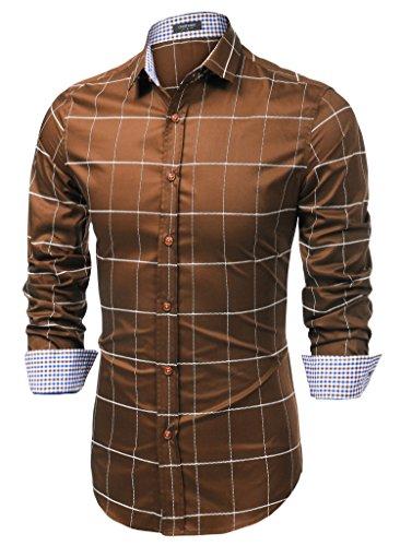 Coofandy Camisa Marrón Hombre a Cuadros Grandes Cierre con Botones Talla S