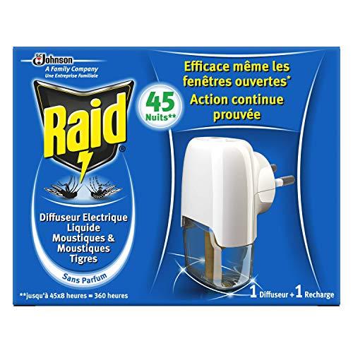 Raid Diffuseur Electrique Liquide Anti-Moustiques 45 Nuits 1 Diffuseur + 1 Recharge 27ml