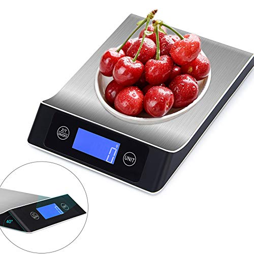 Küchenwaage Digitalwaage Professionelle Elektronische Waage, 5kg/11lb mit großem LCD-Display, Hochpräzise Lebensmittelwaage mit Großer Edelstahl Wiegefläche und Tara-Funktion