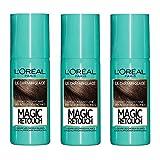 L'Oréal Paris Spray Instantané Correcteur de Racines & Cheveux Blancs, Magic Retouch, Châtain Glacé, 75 ml, Lot de 3