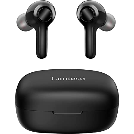 True Wireless Earbuds,Lanteso TWS Bluetooth Earbuds with Mics Clear Call Touch Control Bluetooth Headphones with Bass Sound in Ear Earphones for Music,Home Office