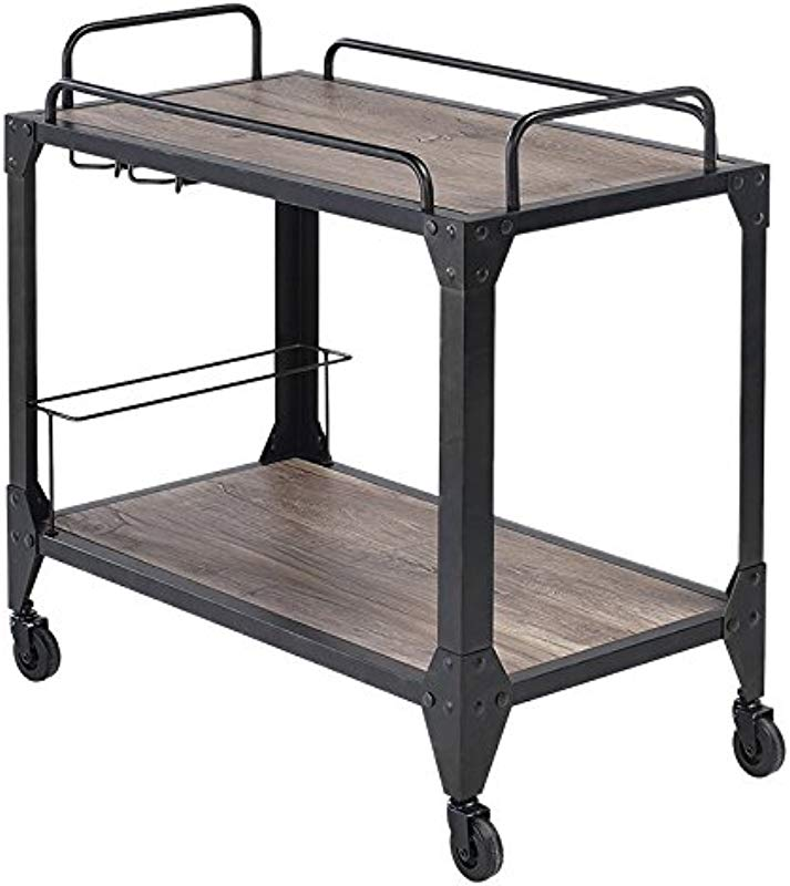 ACME Caitlin Rustic Oak And Black Serving Cart