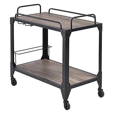 ACME Caitlin Rustic Oak and Black Serving Cart