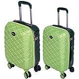 Set 2 Trolley Valigia + Bagaglio a Mano Coveri Londra Guscio Rigido In ABS 4 Ruote girevoli Manico...