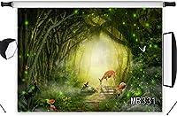写真撮影のための新しいマジックジャングルの森の背景10x7ftファブリック妖精の森鹿の背景新生児のベビーシャワーの誕生日パーティーキッズポートレート写真ブースの背景洗える