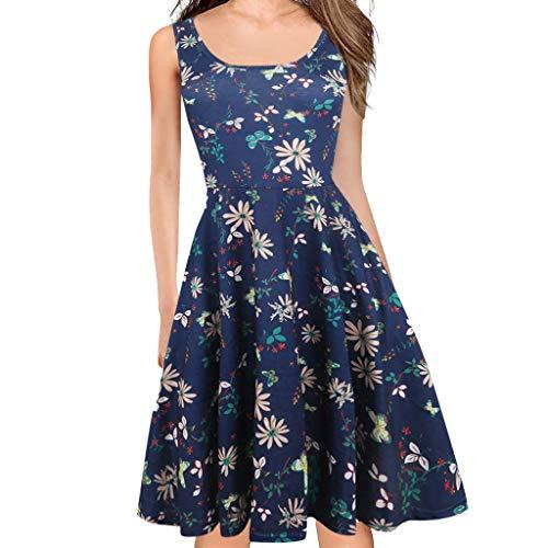 COZOCO Vestido de Hermosa Ola Punto Color sólido Elegante Retro impresionista Vestido de...