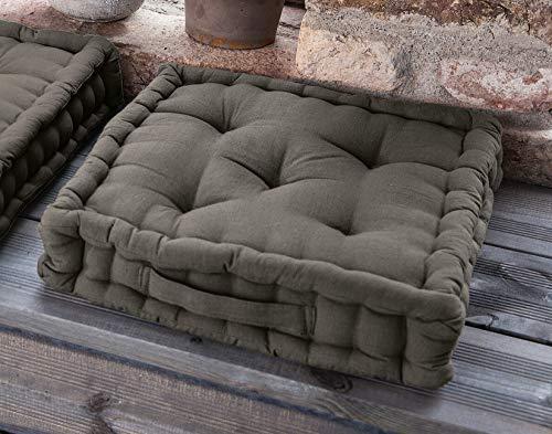 Dekoleidenschaft Bodenkissen grau-braun, 40x40 cm, 8cm dick, Bezug aus 100% Baumwolle, Matratzenkissen, Sitzkissen