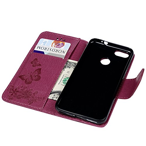 YOKIRIN Huawei Y6 Pro 2017 Lederhülle Hülle Case für Huawei Y6 Pro 2017 Flipcase Tasche Handyhülle Etui Großer Schmetterling PU Leder Schutzhülle Kartenfächer Magnetverschluss Cover Rose Rote