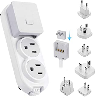 Travel Power Strip by Ceptics - Small & Compact - Surge Protector - Grounded USB + Type C - 2 USA Outlets Input - Plugs fo...