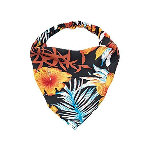 MUGBGGYUE Elastischer Haarschal Stirnband Haarbandanas Urlaubsstil Dreieck Kopftuch für Frauen Mädchen Boho Blume Haarschal Vintage Stirnband
