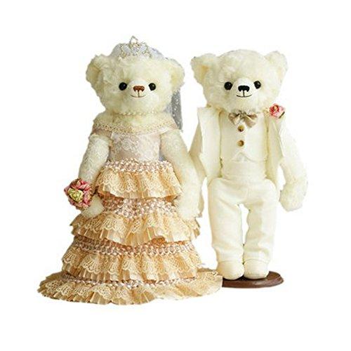 Lovely Mariage Ours mignon nounours jouet Cadeau de mariage (Dentelle Voile/blanc Costume)