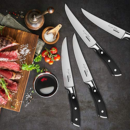 Steak Knives, Steak Knife Set of 4 Premium Kitchen Table Knife 4.5 Inch Straight Edge Blade Dinner Knives Non Serrated