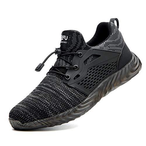 Zapatos de Seguridad para Hombre Transpirable Ligeras con Puntera de Acero Zapatillas de Seguridad Trabajo, Calzado de Industrial y Deportiva 41