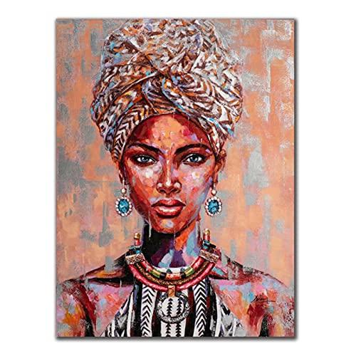 Lefgnmyi Tonos marrones anaranjados Belleza Mujer africana con turbante Pintura en lienzo Carteles Impresiones Imagen de arte de pared para la decoración de la sala de estar -20x32 IN Sin marco