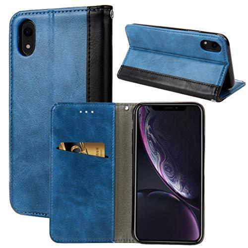 YIHUI Funda Protectora Diseño Retro del Libro Vuelta Horizontal PU del Caso de Cuero for el iPhone XR, con el sostenedor y Ranuras for Tarjetas (Negro) (Color : Blue)