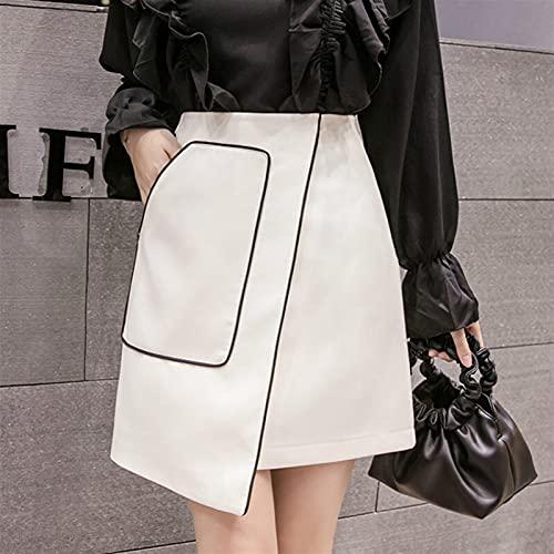 Basbsa Robe pour Femmes Jupes Femmes 2020 Printemps Paquet Femme Femelles coréennes a-Line Chic Mode élégant OL vêtement de Travail Jupe Courte Neuf (Color : White, Size : XLarge)