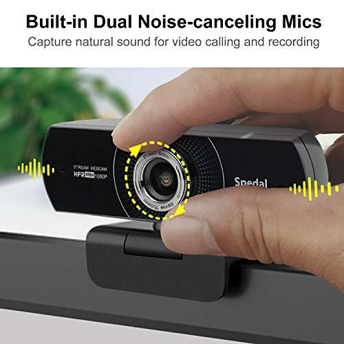 Spedal Webcam 1080p 60fps, 100 Grad Webcam mit Zwei Mikrofonen, Beauty Effekt Streaming Kamera für OBS XSplit Skype Facebook, Laptop Computer Kamera kompatibel für Mac OS Windows 10/8/7