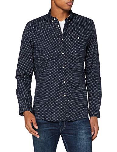 TOM TAILOR Denim Herren Allover Print Stretch T-Shirt, 23977-navy Twisted Element, XL