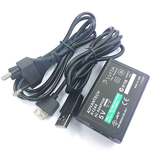 Cargador de alimentación estable Adaptador de alimentación de rendimiento confiable para Sony para PS Vita Suministro de CA Cargador de conversión Cable de datos USB Enchufe de EE. UU. - Negro