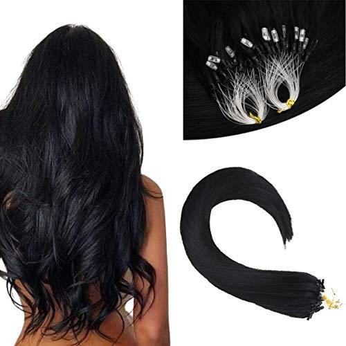 Sunny Human Hair Micro Loop Extensions in Natural Black