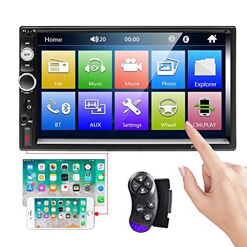 CAMECHO Bluetooth-Autoradio 2 Din 7-Zoll-Touchscreen MP5-Player FM-Radio IOS/Android-Telefon Spiegel Link Dual USB AUX SD-Anschluss + Lenkradsteuerung