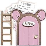 Puerta Ratoncito Pérez rosa con escalerita y recibos oficiales 100% artesanal