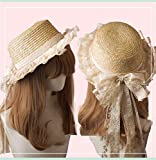 Summer Sun Hat for Women's Lolita Lace Straw Cap Bowknot Casual Beach Hat UV Protection (TM-B)