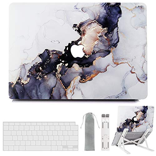 MacBook Pro 13 Inch Case 2020 2019 2018 2017 2016 Release M1 A2338 A2289 A2251 A2159 A1989 A1706 A1708, G JGOO Hard Shell Case & Laptop Stand & Keyboard Cover Compatible with Pro 13 Touch Bar, Marble
