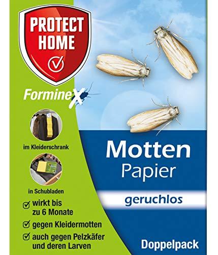 PROTECT HOME Forminex Mottenpapier (ehem. Bayer Garten Blattanex), gegen Motten, Teppichkäfer und Pelzkäfer, für Schubladen und Kleiderschränke, Doppelpack