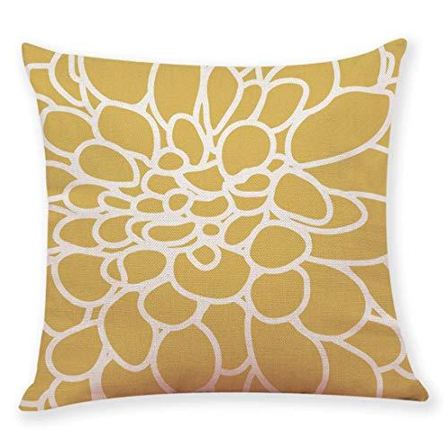JiaMeng Funda de cojín de Almohada, Funda de Almohada de Mostaza Funda de Almohada de otoño geométrica Amarilla Otoño Decorativo