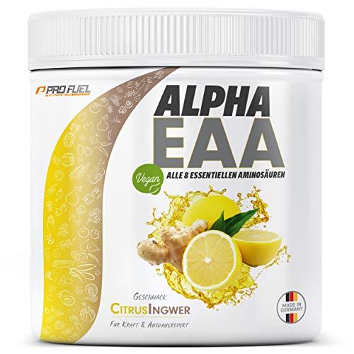 ProFuel ALPHA EAA Pulver zum Muskelaufbau & für Diät | Enthält 8 essentielle Aminosäuren | Vegan EAAs Aminosäuren Pulver MADE IN GERMANY | Optimale Wertigkeit | Leckerer Geschmack (Citrus-Ingwer)