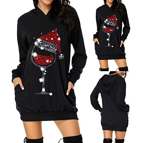 HuiBOYS Damen Weihnachtskleid Partykleid Weihnachtskostüm, Cartoon Print Top Langarmhemd Casual Sweatshirt Frühling Herbst Winter Shirt Festliches Geschenk (38 EU, C3-schwarz)