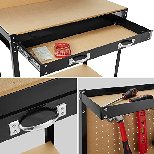 TecTake Werkbank 120 x 60 x 156 cm aus Metall mit Werkzeugwand - 4