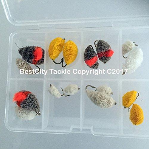 BestCity Set zum Fliegenfischen in Box, 16 Stück, gemischte Größe 4–12 für Fliegenforellen, Karpfenmullet #343