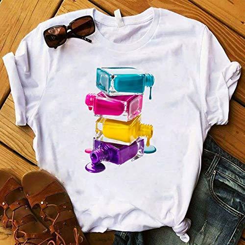 Ltong T-Shirt Frauen Grafik Fingernagelfarbe Farbe Mode Tops Weibliche T-Shirts Sommer Harajuku T-Shirt Kurzarm T-Shirts Top, 1, XS