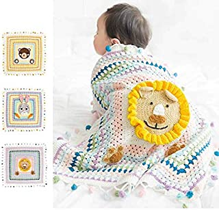 Baby Swaddle Blankets for Infant All Hand Knitting Organic Cotton, for Boy and Girl Newborn Gift, Toddler Crib Blanket 31x 31 inches, Lion