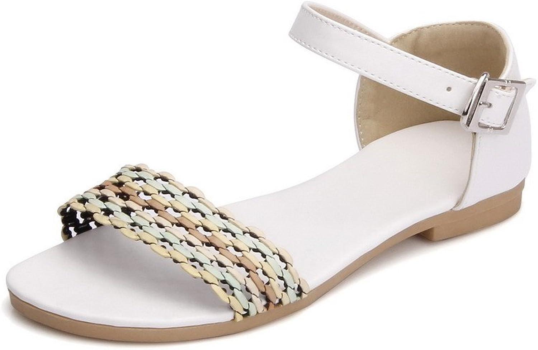 WeenFashion Women's Pu No Heel Open Toe Assorted color Buckle Flats-Sandals