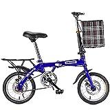 ZPEE Loisirs Frein à Disque Vélos Pliants avec Basket Rack Arrière,Vitesse Unique Acier De Carbone Vélo Pliant,Vélo Pliant De Banlieusard pour Les Hommes Femmes