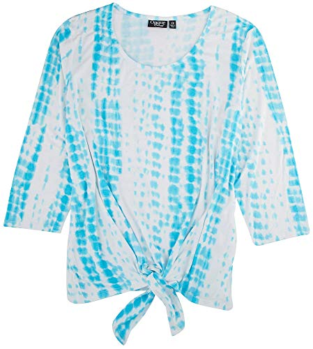Onque Plus Tie Front 3/4 Sleeve Top 1X Turquoise