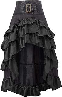 SHUSUEN Ladie's Gothic Steampunk Skirt Multi-Layered Retro Victorian Punk Vintage Long Ruffle Skirt