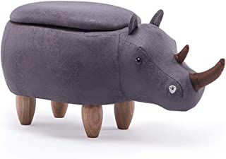 CJH Cartoon Creative Rhino Child Stool Solid Wood Shoes Changing Stool Sofa Stool Changing Shoes Stool (Size : Bring Storage Box)