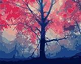 N\A Pintura por Número De Kit DIY Regalos Pinturas con Numeros para Adultos Acrilico Pintura Kit Kit De Pintura Niños Rosa, Árbol, Niebla, Resumen, Madera with Frame