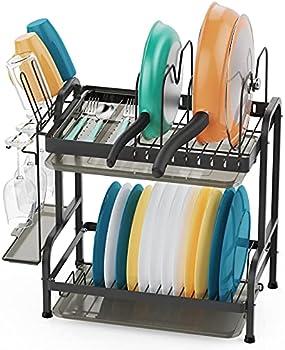 2-Tier Stainless Steel Dish Drying Rack with Utensil Holder Hooks