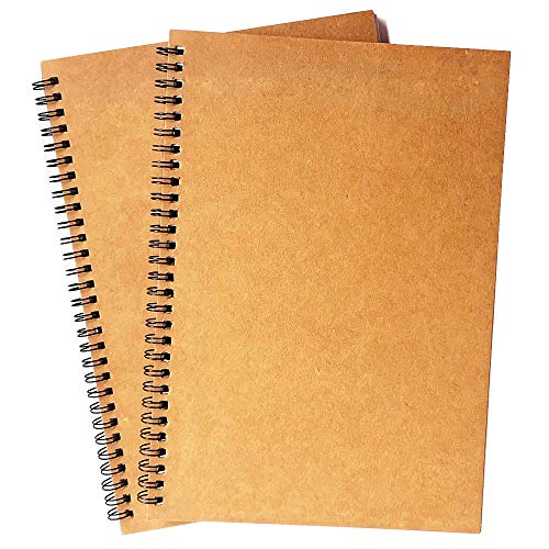 """Spiral Notebook, 2 Pack Spiral Journal, Sketchpad of Thick Pure White Paper, 10"""" X7"""" (Khaki, Blank)"""