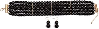 Women Round Simulated Pearl Multi Strands Choker Statement Necklace and Earring Set