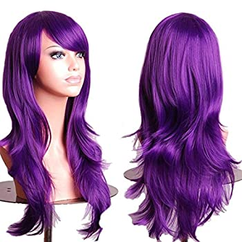 28 Women s Hair Wig New Fashion Long Big Wavy Hair Heat Resistant Wig for Cosplay Party Costume purple