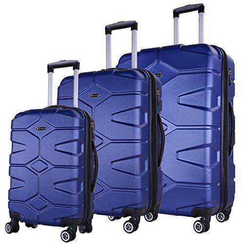SHAIK® SERIE RAZZER SH002 3-tlg. DESIGN PMI Hartschalen Kofferset, Trolley, Koffer, Reisekoffer, 4 Doppelrollen, 25% mehr Volumen durch Dehnfalte (Dunkelblau, Set)
