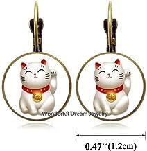 Waozshangu Silver Maneki Neko Lucky Cat Earrings,Pewter Maneki Neko Charm Earrings,Welcoming Cat Earrings, Chinese Lucky Cat Earrings,PU011